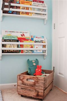 Shelving and crate storage for Murphy's room