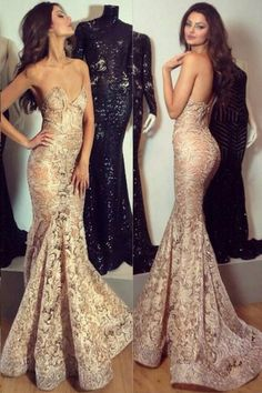 Charming Sweetheart Lace Prom Dress,Sweep Train Mermaid Prom