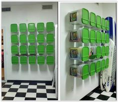 Cat Litter Containers For Storage . empty containers are bolted to the wall for enclosed storage useful in your garage, basement, stairwell, etc. I couldn't find the original website but the idea is pretty self explanatory. Garden Tool Storage, Cubby Storage, Stair Storage, Craft Storage, Storage Ideas, Diy Storage Containers, Reuse Containers, Glass Containers, Stair Well