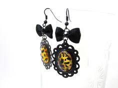 Leopard cheetah print rockabilly psychobilly jewelry Earrings rockabilly jewelry bow earrings On Black Metal by MissLizzyD, $12.00