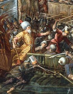 Western World Saved from the Moors (Muslims) in 1492! Miraculous Battle! Naval battle of Lepanto by Andrea Micheli