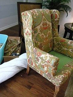 DIY Reupholstering a Wing Back Chair diffendwelling.blogspot.com
