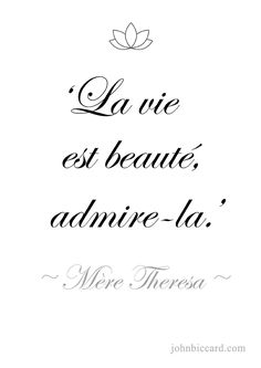 Life is beauty, admire it. French Love Phrases, French Words, French Quotes, Best Quotes, Life Quotes, French Expressions, Mothers Day Quotes, French Lessons, France