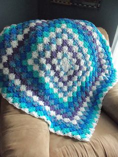 Blues and Lavender Bavarian Crochet Afghan Lapghan Throw. $50.00, via Etsy.