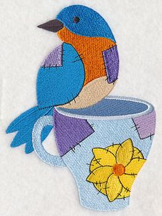 """Crafty Bird with MugProduct ID:L6986 Size:4.84""""(w) x 6.63""""(h) (122.9 x 168.4 mm)Color Changes:11 Stitches:33527Colors Used:10     2 SIZES"""