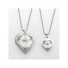 Sterling Silver Cross & Flower Heart Locket & Pendant Set, Women's, Size: 20MM, multicolor