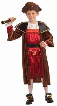 Forum Novelties Children's Christopher Columbus Costume, Large: Includes: Hat, coat, shirt, belt and pants.