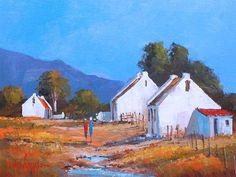 beautiful oil paintings of south african farms Building Painting, Diy Painting, Painting & Drawing, Fishermans Cottage, Landscaping Melbourne, Artistic Tile, South African Artists, Horse Art, Landscape Paintings