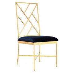 Worlds Away Ashton Gold Chair - Navy