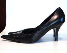 BRUNO MAGLI Pumps CURRENT Black Leather Pointed Toe Heels EU 40 US 10 B Italy #BrunoMagli #PumpsClassics