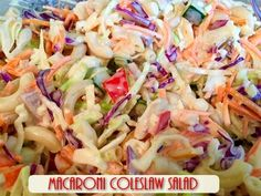 Recipe: Macaroni Coleslaw Salad  http://www.twohensandtheirchicks.com/recipe-macaroni-coleslaw-salad.html