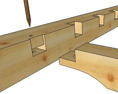 Tying joist tenon and pocket - Timber Frame Construction Details Japanese Joinery, Japanese Woodworking, Woodworking Joints, Woodworking Projects, Shed Frame, How To Build A Log Cabin, Wood Joints, Timber Frame Homes, Wood Construction