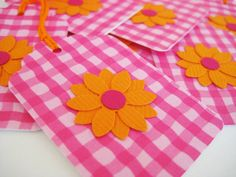 Hot pink and orange flower tags set of 8. $4.00, via Etsy.