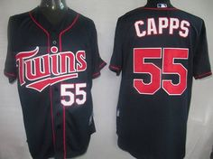 Twins #55 Matt Capps Navy Blue Cool Base Embroidered MLB Jersey! Only $21.50USD