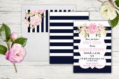 Kate Spade inspired Invitation-wedding bridal by LizzyMaeDesign