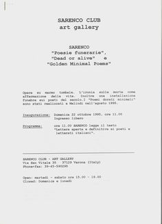 Sarenco, Poesie funerarie , Dead or alive e Golden Minimal Poems, Exhibition program and documentation of the artist at Sarenco Club art gallery, Verona, 1995