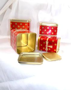 Set of 4 cans with polka dots, Soviet tin cans for #kitchen, #Vintage, #Housewares, #Box, Polka dot box, Set of boxes, Soviet storage box, Vintage tin box, Food containers, Sto... #etsy #vintage #jewelry #handmade #housewares #housewares #box