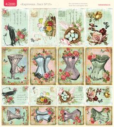 Sewing theme images, corsets, roses, birds nest with eggs, birds, roses, postcards, labels, etc.