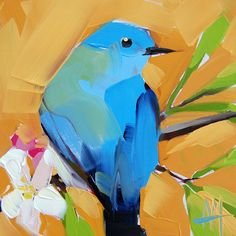 Bluebird no. 53 original bird oil painting by Angela Moulton
