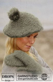 DROPS 98-24 - DROPS Crochet Beret hat and mittens in Alpaca and Vivaldi - Free pattern by DROPS Design