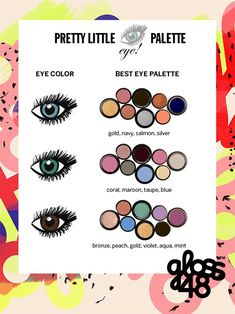 Best eyeshadow colors for your eye color! Log onto Pampadour.com to share YOUR favorite eyeshadows! #beauty #makeup #cosmetics #eyeshadow #eyes #howto #tutorial #guide