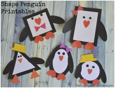 Shape Penguins with northern lights painted background.