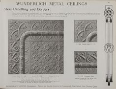 Catalogue page, page 19 of 'Abridged General Catalogue of Metal Ceilings, Wall Linings and Stamped Metal for Exterior and Interior Decoration', Wunderlich Limited, Redfern, New South Wales, Australia, September 1912  Page 19 of 'Abridged General Catalogue of Metal Ceilings, Wall Linings and Stamped ...