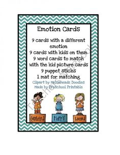 Emotion Cards product from Preschool Printable on TeachersNotebook.com