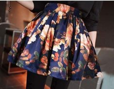 Floral Print Pleated Flared Mini A-line Short Skirt