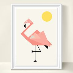 A touch of florida to the nursery. Geometric Flamingo Nursery Wall Art Print by MagentaDesigns, $19.00