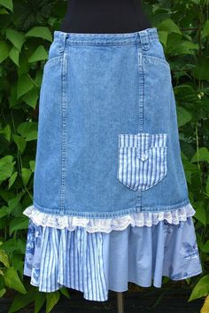 Floral Stripe & Lace Shabby Chic Prairie Denim Skirt by UpTickChic. Denim skirt is finished off with lace, shirting pieces and a pocket and sits at the natural waistline. There's also a slit in the back to make it easier to walk in boots.: