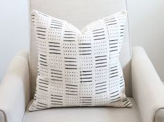 20x20 Vintage Mali African Mudcloth Textile Black Cream Stripe Boho Pillow Cover