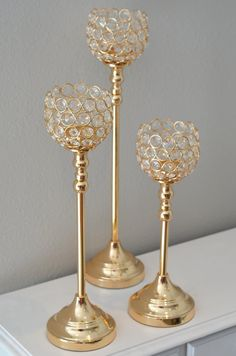 set of 3 gold bling candle holders gold rhinestone flower ball stands or candle holder gold wedding centerpiece gold wedding decor - Gold Candle Holders