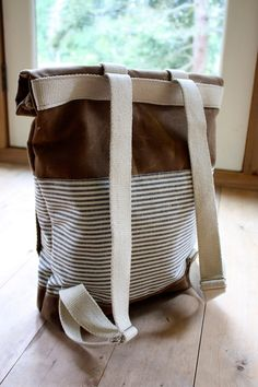 Waxed Canvas Backpack - Weather Resistant - Stripes - Roll Top - Front Pocket. $162.00, via Etsy.