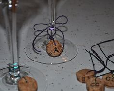 Make six wineglass charms with a cork and some string. Photo: Cara Smusiak. upcycle, diy, do it yourself, cork, wineglass charms, wine, party, dinner party, reuse, green, eco-friendly, photo