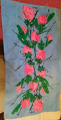 Vintage Vera Neumann Linen TeaTowel NOS unused blue pink flowers 16 x 28 mod
