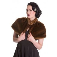 Cape Pin-Up Rétro 50's Glamour Chic Fausse Fourrure Aria