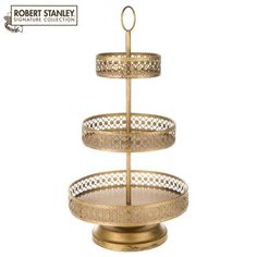 Antique Gold Tiered Metal Tray