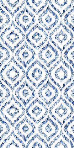 Royal Delft Ikat Blue Grasscloth Wallpaper, Per Yard