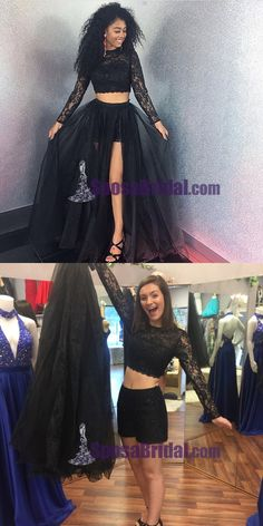 Black Tulle Lace Long Sleeves Two Pieces Detachable Prom Dresses, Fashion Modest Evening dress, party Prom Dresses Two Piece, Prom Dresses Long With Sleeves, Black Prom Dresses, Formal Dresses For Women, Cheap Prom Dresses, Cheap Dress, Prom Gowns, Lace Dress, Tulle Lace