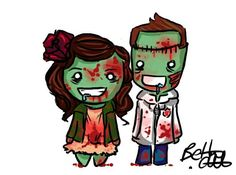 Zombie Couple by bethwhowishes on DeviantArt Anniversary Tattoo, Maori Patterns, Zombie Tattoos, Tattoo Arm Designs, Butterfly Mandala, Cute Zombie, Paar Tattoos, Watercolor Water, Dragon Design