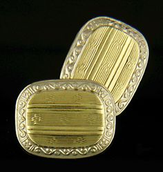 Some of the finest cufflinks of the 1920s combined the warmth of antique gold with the cool elegance of platinum.  This wonderful pair of antique cufflinks features linearly engraved gold centers surrounded by elegant, scrolling platinum borders.