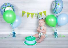 Blue And Green Polka Dot Outfit For Boy First Birthday Party Photos Or Cake Smash