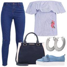 L'outfit è composto da un jeans, una camicetta che lascia le spalle scoperte, una borsa a mano in fintapelle, un paio di scarpe senza lacci in jeans e da un paio di orecchini.