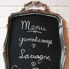 Make a vintage serving tray into a pretty chalkboard! @ By Wilma