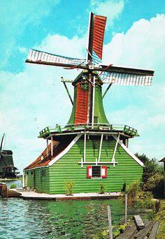 Hollandse molen. Fotokaart uit de jaren '60-'70 vorige eeuw.