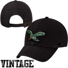 6c4a821eba1 Philadelphia Eagles Vintage Logo Black Clean Up Hat