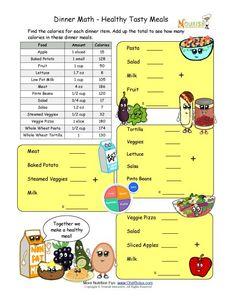 Calorie Count Math Worksheet For Elementary School Children - High ...
