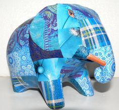 """Blue decorated elephant.  Silk & Pepper adds a """"touch of elegance"""" ORIGINAL & UNIQUE CREATIONS FOUND ONLY AT SHOP SILK & PEPPER Created and made by Valérie.B. #Elephants #PhnomPenh"""
