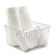 Medium Chrome Locker Basket ~ great for so many spaces! Available from Storables.com #Organizing #Products